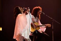 """Rami Malek as Freddie Mercury, left, and Gwilym Lee as Brian May star in Twentieth Century Fox's """"Bohmian Rhapsody."""""""